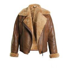 Cockpit Brown Flying Shearling Leather Jacket for women Bomber Fur Cafe Racer