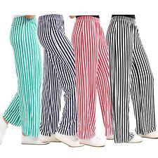 New Women High Waist Casual Stripe Print Flared Wide Leg Palazzo Trousers 8-26