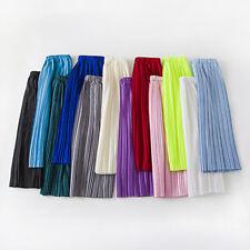 Women Pleated Skirt Chiffon Elastic High Waist A Line Plain Summer Midi Skirt