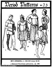 Men's Medieval Cotehardies 1340-1420 sz 36-48 Period Patterns Sewing Pattern 23