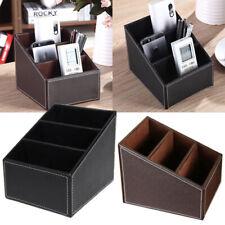 PU Leather Phone/TV Remote Control Storage Box Home Desk Organizer Holder