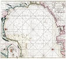Reproduction carte ancienne - Golfe du Mexique en 1684 (Mexico)