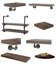 Retro Walnut Floating Shelf & Vintage Dark Oak Storage Shelves Kit Display Unit