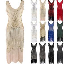 UK 1920S VINTAGE GATSBY CHARLESTON SEQUINS TASSEL FLAPPER DRESS PLUS SIZE 6 - 22