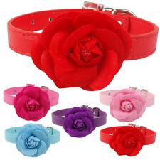 Pink Flower Dog Collars Fancy Cat Kitten Dog Necklace PU Leather Adjustable