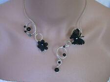 "Necklace black/silver"" ""pr wedding dress/wedding/evening, butterfly (cheap)"
