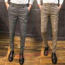 Chic Mens Plaid Ckeck Slim Straight Leg Casual Pants Trousers Dress Formal Pants