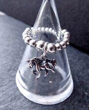 PLATA DE LEY 925 charm unicornio Anillo Elastizado & Apilar