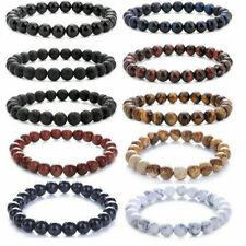 Healing Bracelet For Men Women Jewelry Vintage 8mm Beads Natural Lava Stone