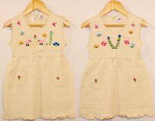 Ethno Kleid weiß beige Gr. 104*110 100% BW Peru Handarbeit bestickt Blumen Tiere