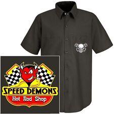 SPEED DEMONS HOT STREET RAT ROD RACE CAR SHOP DEVIL SKULL MECHANIC WORK SHIRT