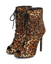 New Women Liliana Tavi-65 Leopard Fringe Peep Toe Lace Up Stiletto Bootie Size