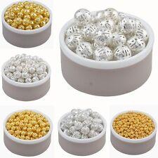 Lot Perle Rond Metal Charms Argente ou Dore Taille, quantité et Couleur au choix