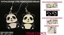 Heart Nose Panda Bear Earrings *OPTION* Hypoallergenic Pierced OR Clip Earrings