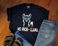 No Prob-Llama short sleeved shirt navy or gray all sizes love LLamas Llama gift