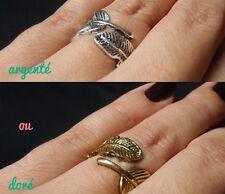 Bague originale plume autour du doigt argenté ou doré vieili mode trendy
