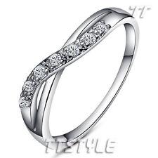 TT 18K White Gold GP Engagement Wedding Band Ring Size 5-8 (RF51)