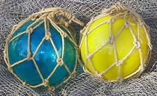 """12"""" Fish Net Buoys Glass Ball Floats~Nautical Beach Coastal Seashore Decoration"""