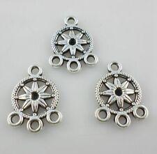 40/400pcs Tibetan Silver Lucky Flower Earring Connectors Charms Pendants 13x18mm