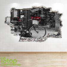 Adesivo parete vintage BIKE 3D Look-Camera da letto salotto London murali Z706