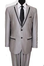 Men's 2 Button Solid Flat Front Pants Notch Lapel with Satin Trim Slim Fit Suit