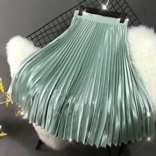 Womens Satin A-line Pleated Skirt Retro Stretch High Waist Flared Swing Dress Nw
