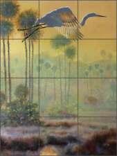 Tile Mural Backsplash Ceramic Binks Egret Bird Wildlife Lodge Art REB026