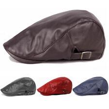 Men's Casual Outdoor Adjustable Caps Leather Beret Hats Golf Driving Newsboy Hat