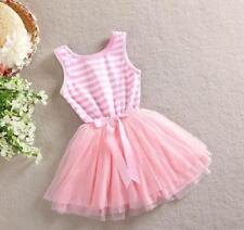 LIGHT PINK Striped Tutu SUMMER DRESS Bow BABY GIRL DRESS Princess Party Present