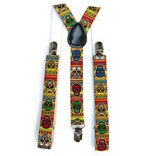 Multicolour Sugar Skull Mexican Fancy Dress Costume Trouser Braces Suspenders