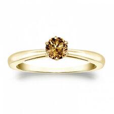 Diamantring Solitär, 0.25 Karat Champagner, 585/14K Gelbgold + Zertifikat