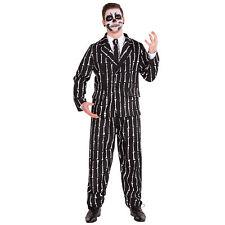 Costume à rayures os imprimer déguisement halloween carnaval homme squelette