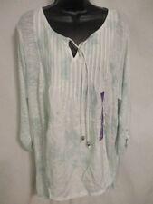Bandolino Viscose Lt Harvest Green 3/4 Slve Knit Peasant Tie-Dye Blouse NEW