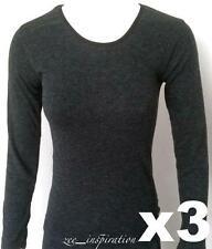 3x Ladies Crew Neck Merino Wool Thermal Top, Sz 10-22 Charcoal