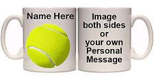 TENNIS BALL PERSONALISED MUG & COASTER (SP10) 11oz & 15oz GIFT