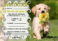 5 ou 12 cartes invitation anniversaire petit chien chiot REF 346