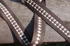 Woven Fabric Tape Trim Diamond Stripe Brown, 1 inch by the 1 yard