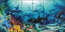 Ceramic Tile Mural Backsplash Miller Dolphin Undersea Ship Wreck Art  DMA2018