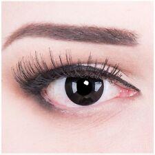 Crazy Fun schwarze Kontaktlinsen mit Stärke Black Out Behälter für Fasching