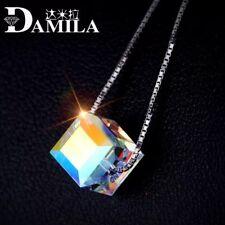 925 Sterling Silver Austrian Crystal Cube Lady Pendant Choker Necklace Chian