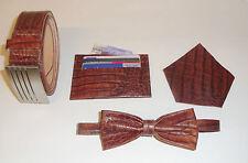 Real Leather Mock Crocodile Belt, Bow Tie, Pocket & Card Holder.Unique Gift Set2