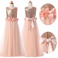 Flower Girl Princess Pageant Kid Birthday Party Wedding Bridesmaid Formal Dress+