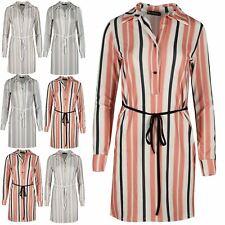 Womens Ladies Crepe Stripe Long Sleeve Cut Out Collar Belt Button Shirt Dress