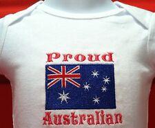 Proud Australian Australia Flag Baby Bodysuit Embroidered