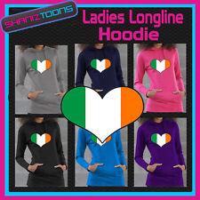 IRELAND IRISH FLAG LOVE HEART RUGBY LADIES LONGLINE HOODIE HOODY