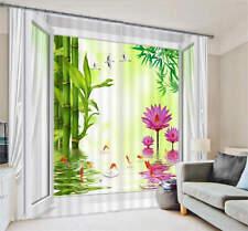 Bamboo Gold Fish Lotus 3D Customize Blockout Photo Curtains Print Home Window De