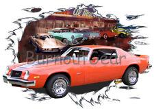 1974 Orange Chevy Camaro Z28 Custom Hot Rod Diner T-Shirt 74 Muscle Car Tees