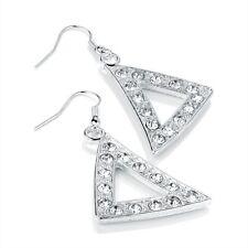 Diamante Sparkle Triangle Design Earrings - Gold Silver Colour - Brand New