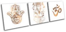 Buddha Ohm Ganesh Minimal Religion TREBLE CANVAS WALL ART Picture Print