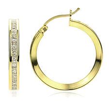 Women 14K Gold 3mm Intriguing Princess CZ Channel Set Eternity Hoop Earrings